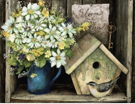 "Lang Deluxe Boxed Note Cards - ""Birdhouse & Fence"" - Artist Susan Winget"