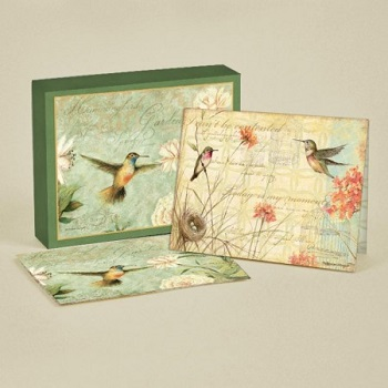 "Lang Deluxe Boxed Note Cards - ""Hummingbirds"" - Artist Susan Winget"