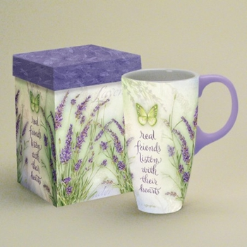 """Lang & Wise Latte Mug - """"Lavender - Real Friends Listen with Their Hearts"""" -  Artist Jane Shasky"""