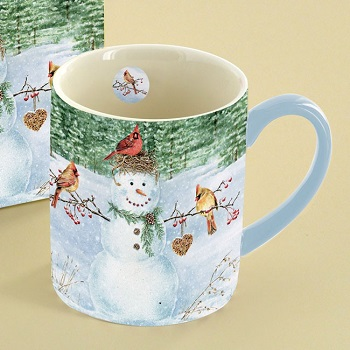 "Lang & Wise Mug - ""Happy Snowman"" - Artist Jane Shasky"