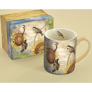 "Lang & Wise Mug - ""Sunflower Birds "" - Artist Susan Winget"