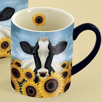 "Lang & Wise Mug - ""Surrounded By Sunflowers"" - Artist Lowell Herrero"