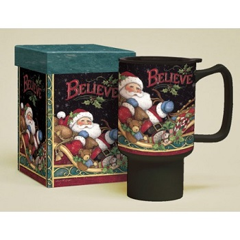 "Lang & Wise Travel Mug - ""Believe Santa"" - Kimberly Poloson"