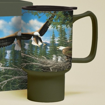 "Lang & Wise Travel Mug - ""Spring Bald Eagles"" - Artist Michael Sieve"