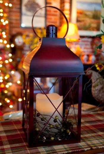 Decorative Candle Lantern - Rustic Red Lantern - 16 Inch