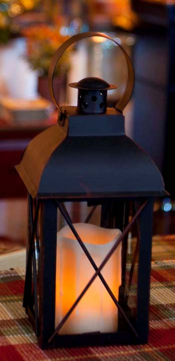 Decorative Candle Lantern - Rustic Black Lantern - 8 Inch