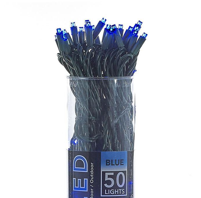 LED Electric String Lights - 50 Blue LED Lights - Green Wire - 25ft