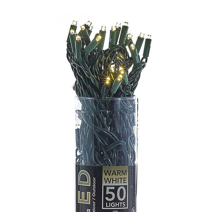 LED Electric String Lights - 50 Warm White LED Lights - Green Wire - 25ft