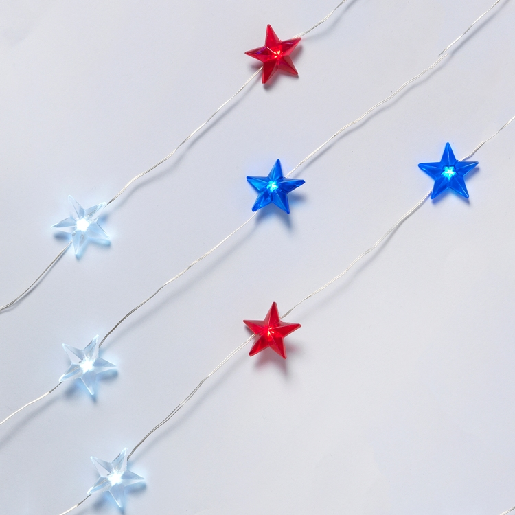 Micro LED Star Lights - Patriotic Red/White/Blue - Battery/Silver Wire - 10ft