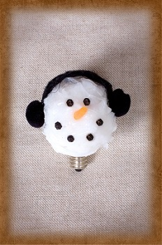 Earmuff Snowman Light Bulb - Candelabra Base - 4 Watts