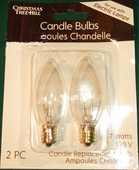 Candle Light Bulbs - Torpedo Bulb - 7 Watt 120 Volt - 2 Pack