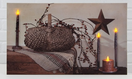 """Lighted Canvas Pictures - """"Berry Basket"""""""