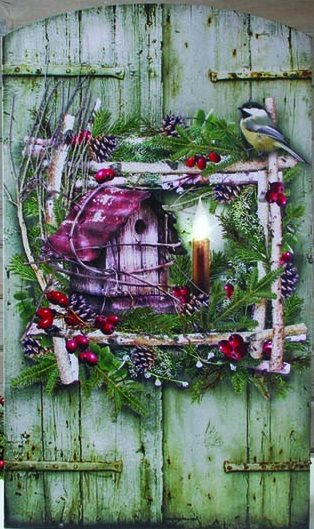 """Lighted Canvas Pictures - """"Birch Wreath"""""""