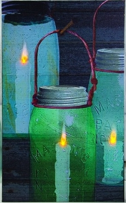 "Lighted Canvas Pictures - ""Canning Jar"" - Timer"
