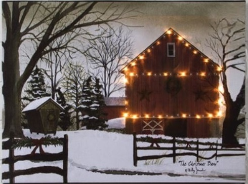 "Lighted Canvas Pictures - ""Christmas Barn"" - Small 12"" x 16"""