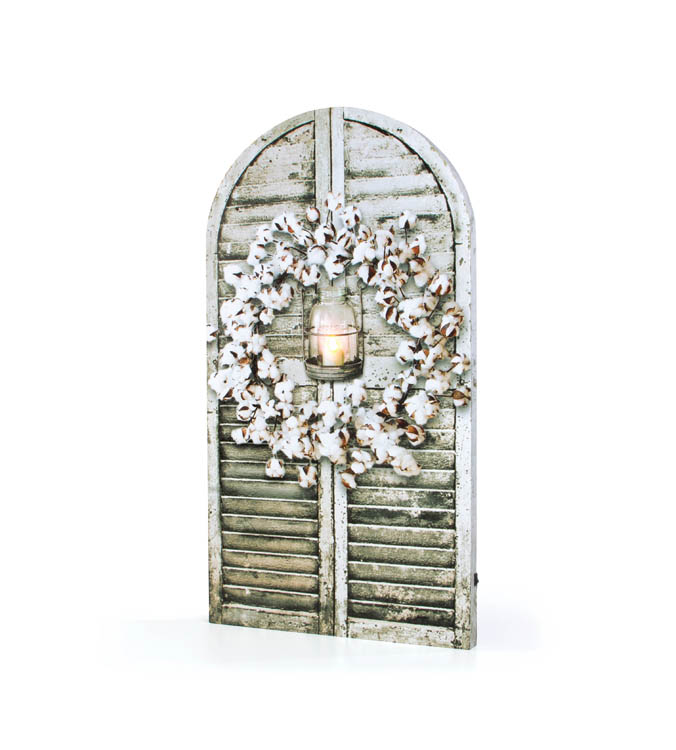 """Lighted Canvas Pictures - """"Cotton Wreath Shutter"""""""