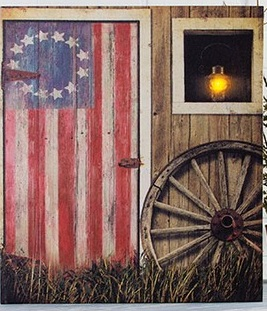 Lighted Canvas Pictures - Flag Barn Door - 18in x 16in