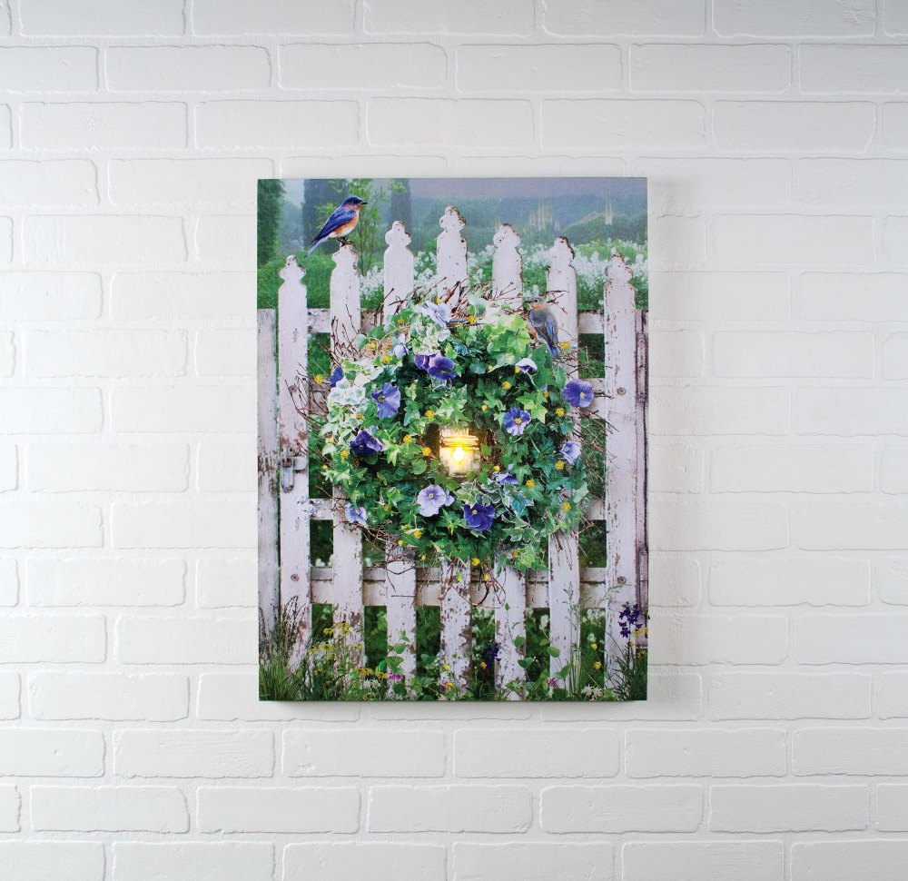 lighted canvas pictures garden - Lighted Christmas Wall Decorations
