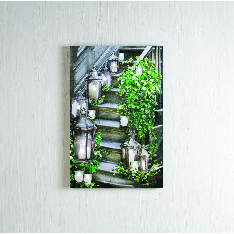 "Lighted Canvas Pictures - ""Garden Staircase"""