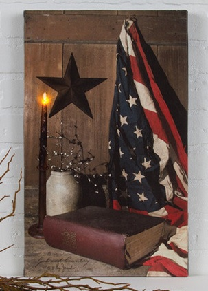 Lighted Canvas Pictures - God And Country - 20in x 12in