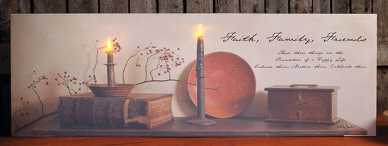 Lighted Canvas Pictures - Happy Life - 10in x 30in
