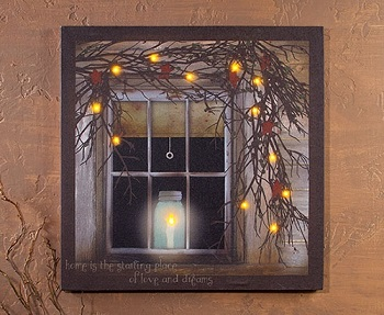 Lighted Pictures Wall Decor lighted canvas pictures - battery operated lights flicker!!!