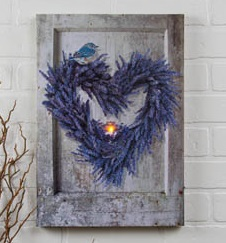 "Lighted Canvas Pictures - ""Lavendar Wreath"""