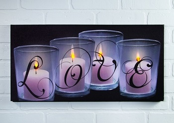 Lighted Canvas Pictures - Love By Candle Light - 12in x 24in