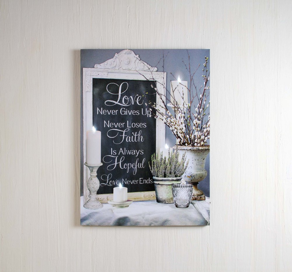 "Lighted Canvas Pictures - ""Love Never Ends"""