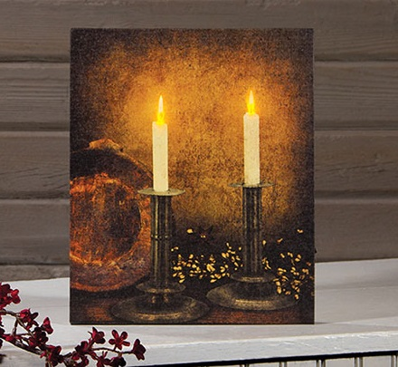 "Lighted Canvas Pictures - ""Pewter Candles"""