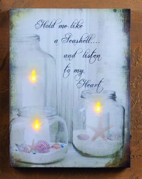 "Lighted Canvas Pictures - ""Seashell Jar Candle"""