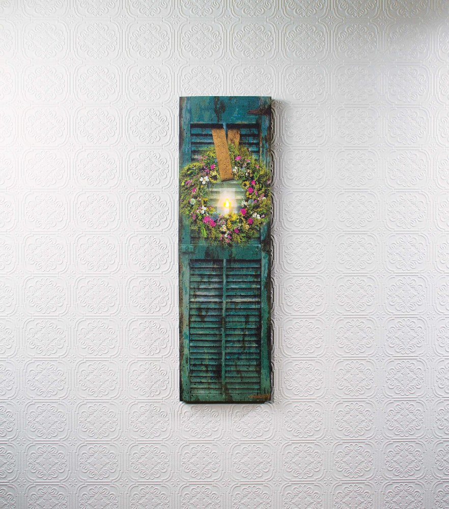 """Lighted Canvas Pictures - """"Herb Wreath with Shutter"""""""