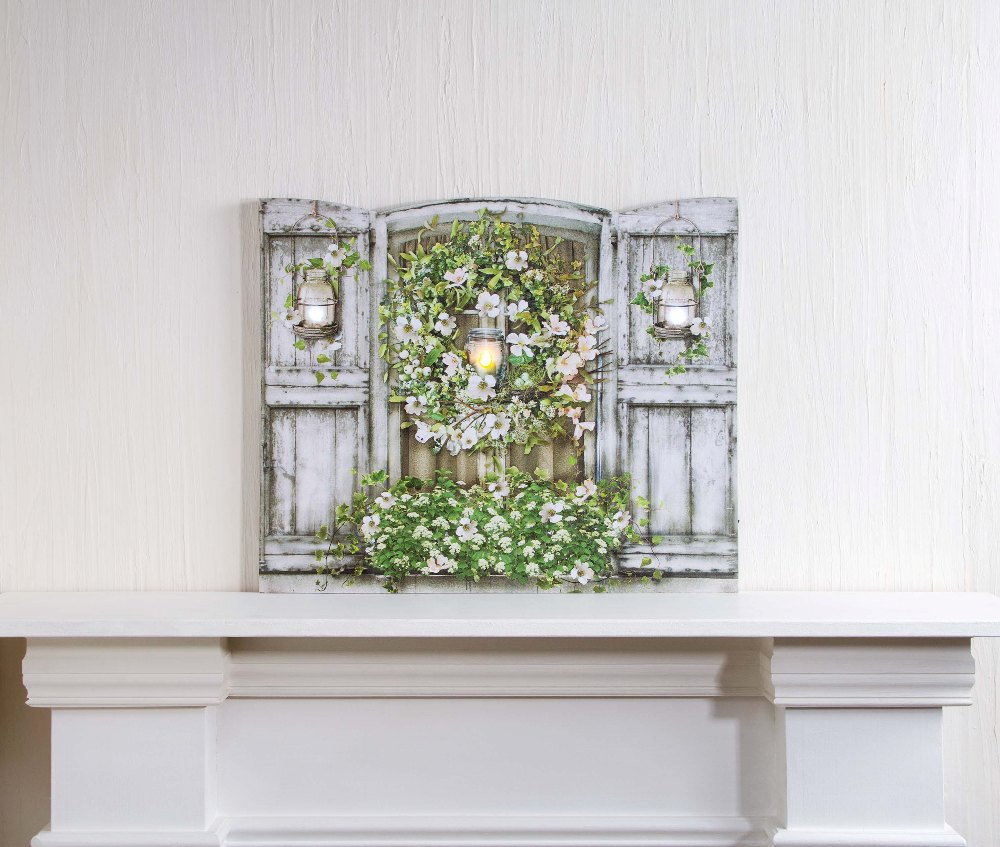 "Lighted Canvas Pictures - ""Shuttered Window of White"""