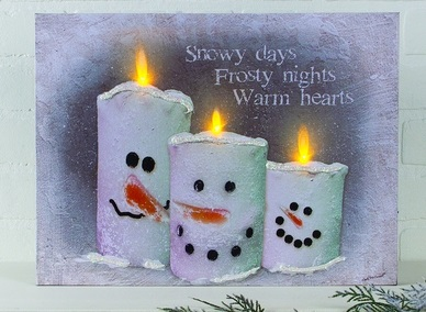 "Lighted Canvas Pictures - ""Snow Candles"""