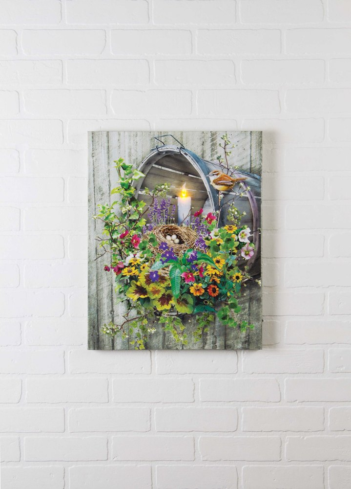 "Lighted Canvas Pictures - ""Spring Bushel Basket"""