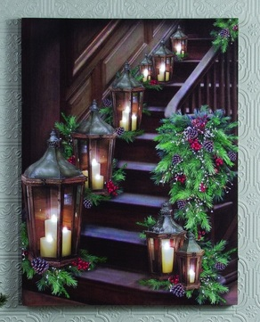 Lighted Canvas Pictures - Pine/Lantern Stairway - 16in x 21.25in