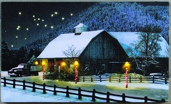 "Lighted Canvas Pictures - ""The Barn At Christmas"""