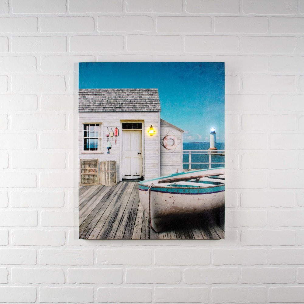 "Lighted Canvas Pictures - ""The Dock House"""