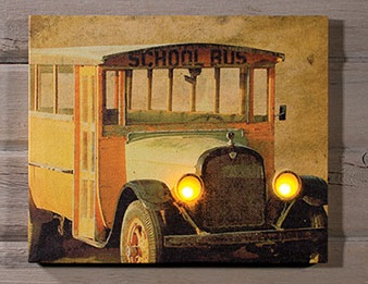 "Lighted Canvas Pictures - ""Vintage School Bus"""