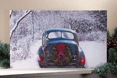 "Lighted Canvas Pictures - ""Winter Classic Car"""