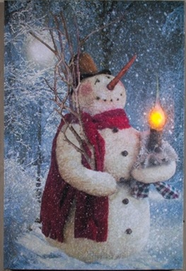 "Lighted Canvas Pictures - ""Woodland Snowman"""