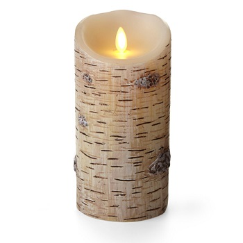 Battery Pillar Candle - Luminara LED - Birch Bark - 7in x 3.5in