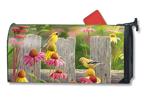 "Mailbox Wrap - ""Goldfinches & Coneflowers"""