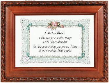 "Music Box - ""Dear Nana Print with Woodgrain Finish"""