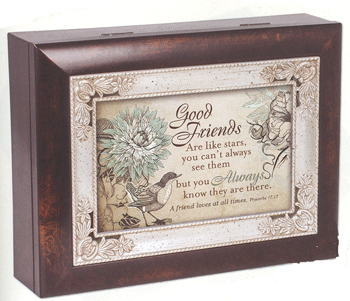 "Music Box - ""Good Friends""  - Italian Style - Woodgrain Finish With Silver Inlay"