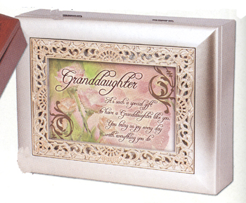 "Music Box - ""Granddaughter in Ornate Champaign Silver  Finish"""