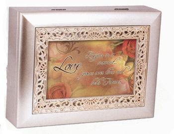 "Music Box - ""Love in Ornate Champaign Silver Finish"""