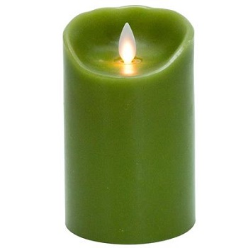 "Mystique Flameless Candle - Battery Operated 3.25"" x 5"" Green"