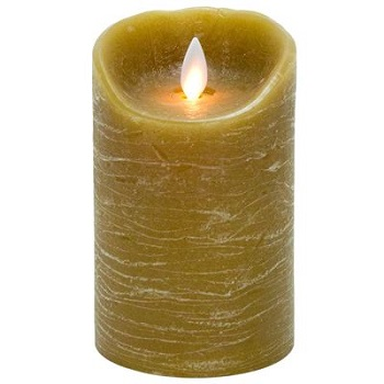 Battery Operated Pillar Candle - Mystique LED Candle - Taupe - 5in x 3.25in