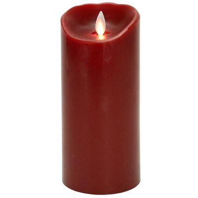 Flameless Pillar Candle - Mystique LED - Red - 7in x 3.25in